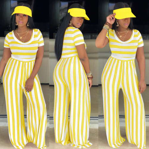 Yellow Striped round neck short-sleeved wide-leg jumpsuit