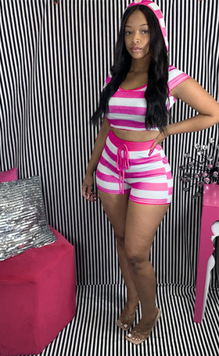 Pink Striped hooded short-sleeved top and shorts set