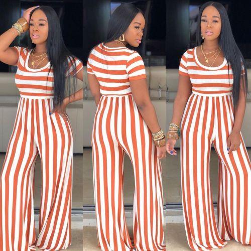 Orange Striped round neck short-sleeved wide-leg jumpsuit