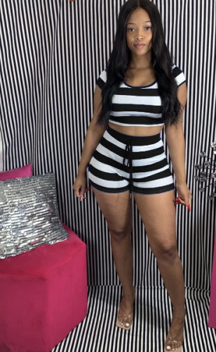 Black Striped hooded short-sleeved top and shorts set