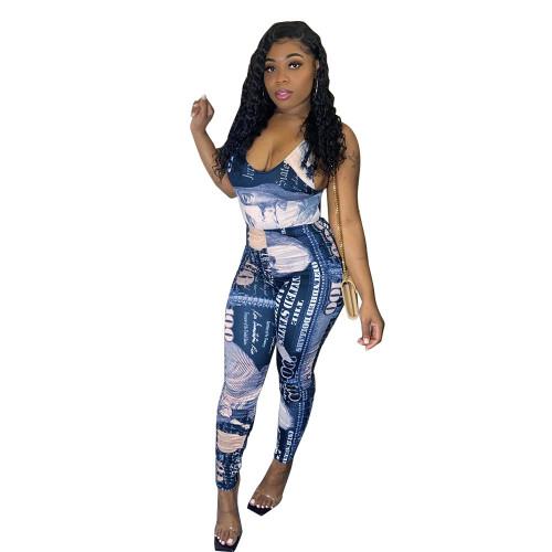 Bule Printed jumpsuit slim fit trousers