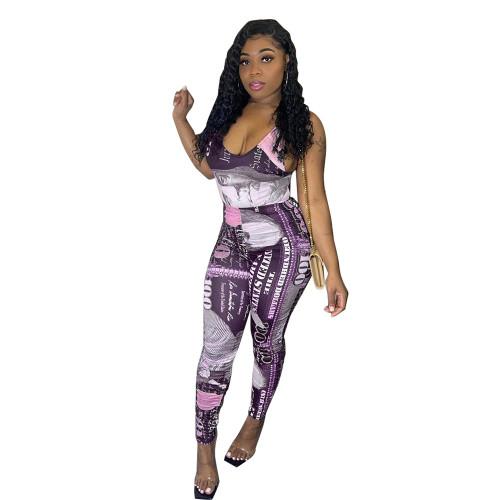 Violet Printed jumpsuit slim fit trousers
