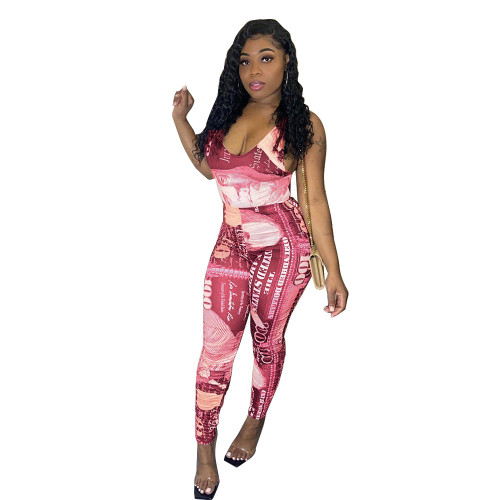 Pink Printed jumpsuit slim fit trousers