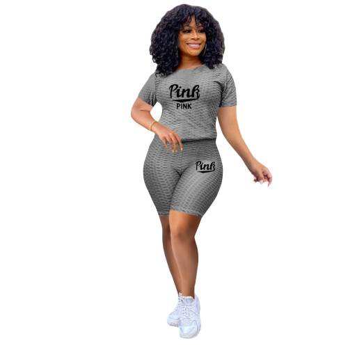 Gray Two-piece stretch pineapple cloth sports and leisure yoga pants suit