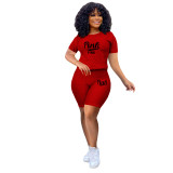 Red Two-piece stretch pineapple cloth sports and leisure yoga pants suit