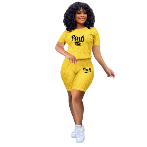 Yellow Two-piece stretch pineapple cloth sports and leisure yoga pants suit