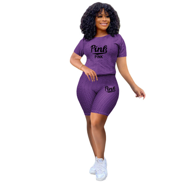 Violet Two-piece stretch pineapple cloth sports and leisure yoga pants suit