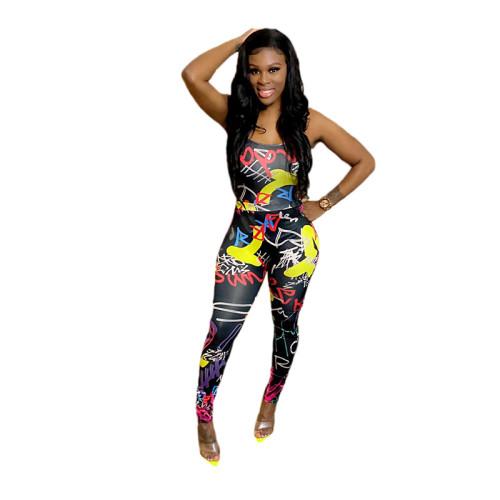 Black Trendy graffiti print sexy strappy jumpsuit