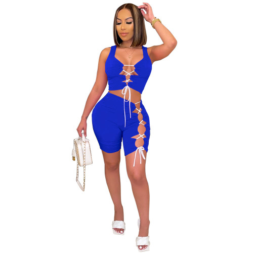 Blue Women's sexy ripped lace-up sports shorts suit