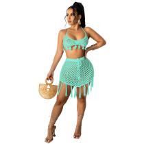 Sky BlueTwo-piece knitted mesh bikini beachwear