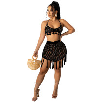Black Two-piece knitted mesh bikini beachwear