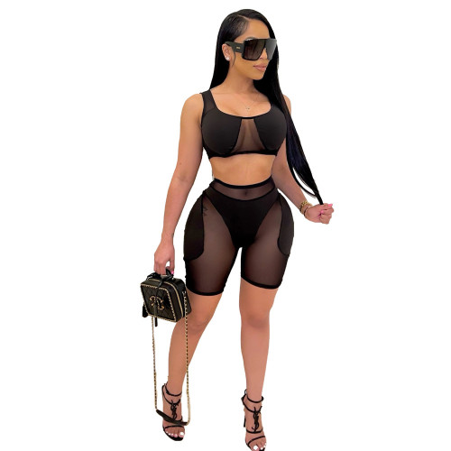 Black Women's sexy mesh stitching shorts and vest sports two-piece suit