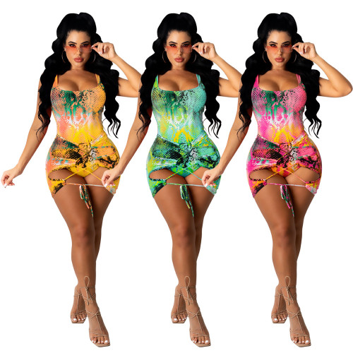 Pink Women's casual printed two-piece swimsuit