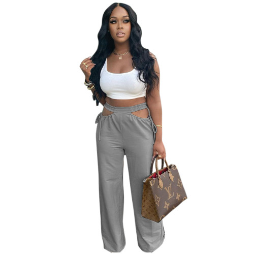 Gray  Women's casual solid color hollow waist wide-leg flared pants