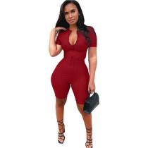 Red Yoga jumpsuit short sleeve zipper leisure sports jumpsuit
