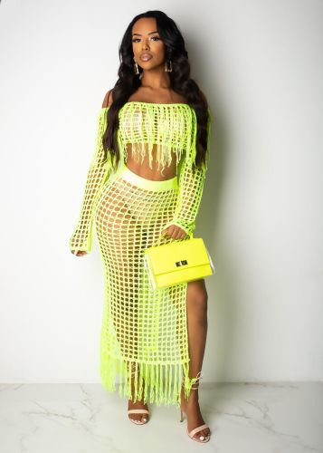 Fluorescent Green Women's casual mesh fringed beach dress two-piece suit