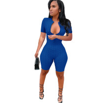 Bule Yoga jumpsuit short sleeve zipper leisure sports jumpsuit