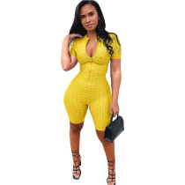 Yellow Yoga jumpsuit short sleeve zipper leisure sports jumpsuit