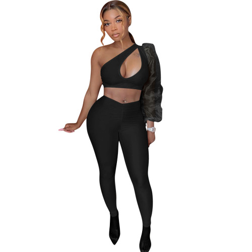 Black Casual fashion solid color see-through puff sleeve strapless two-piece women's clothing