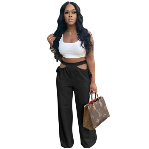 Black  Women's casual solid color hollow waist wide-leg flared pants
