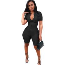 Black Yoga jumpsuit short sleeve zipper leisure sports jumpsuit