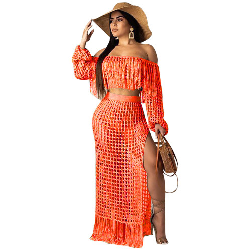 ArmyGreen Women's casual mesh fringed beach dress two-piece suit