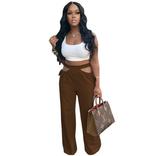 Brown Women's casual solid color hollow waist wide-leg flared pants