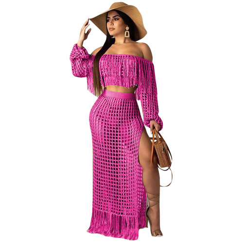 Pink  Women's casual mesh fringed beach dress two-piece suit