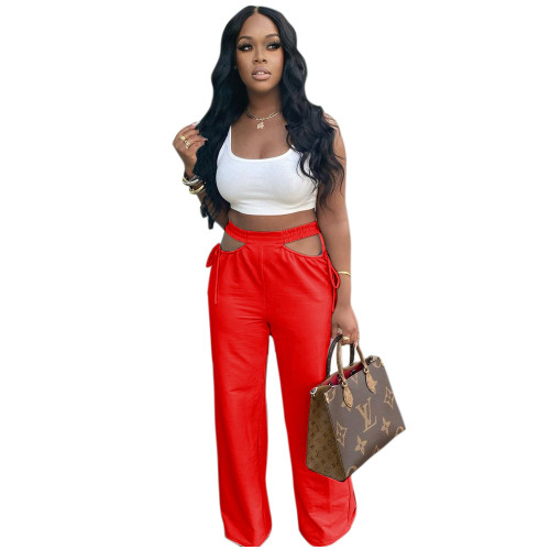 Red Women's casual solid color hollow waist wide-leg flared pants