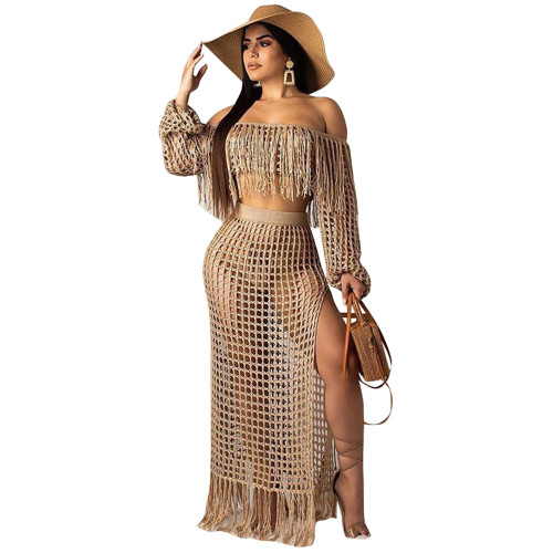 Khaki  Women's casual mesh fringed beach dress two-piece suit