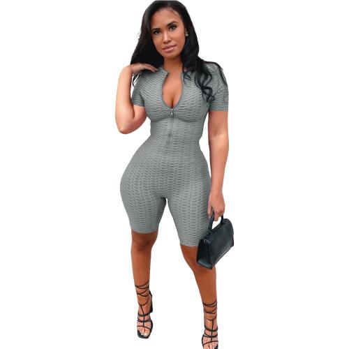 Gray Yoga jumpsuit short sleeve zipper leisure sports jumpsuit