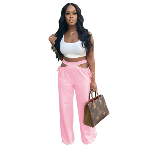 Pink  Women's casual solid color hollow waist wide-leg flared pants