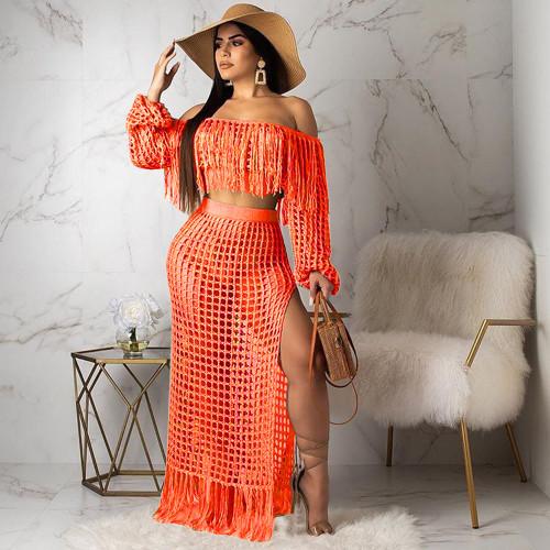 Orange Women's casual mesh fringed beach dress two-piece suit