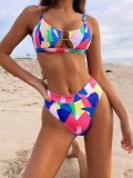 Pink-Outer single sexy printed bikini high waist ladies split swimsuit