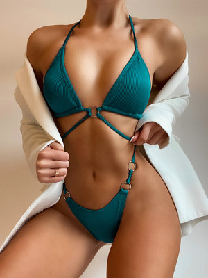 Green Ladies swimsuit pit strip solid color sexy bikini female B290