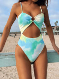 Green Women's one-piece swimsuit tube top hollow personality all-in-one tie-dye swimsuit B271