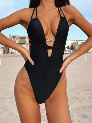 Black Sexy bikini ladies one-piece swimsuit swimsuit B281