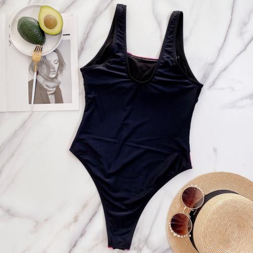 Black Gini Ladies One Piece Spliced Swimsuit Hot SwimsuitB257W