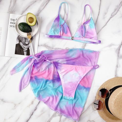 Phosphor Tie-dye outer single swimsuit bikini split swimsuit B263