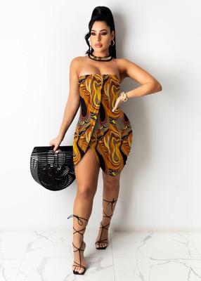 Yellow  Sexy irregular pleated print tube top dress dress
