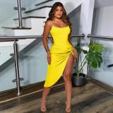 Yellow  Sexy nightclub dress suspender dress