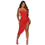 Red  Sexy nightclub dress suspender dress