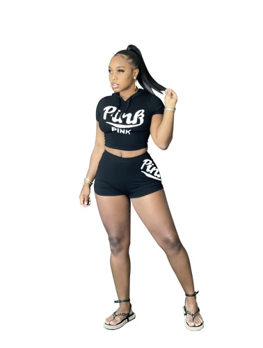 Black   Women's fashion sexy casual letter printing three-color two-piece suit