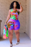 Purple  Summer urban casual pineapple cloth printed sleeveless suit