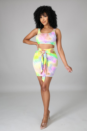 Yellow  Women's fashion sexy casual color printing three-color two-piece suit