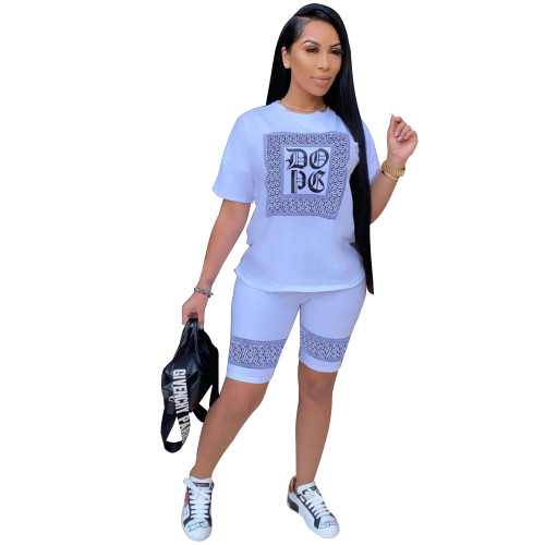 Light sky blue   Women's fashion sexy casual print short sleeve three-color two-piece suit