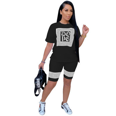Black  Women's fashion sexy casual print short sleeve three-color two-piece suit
