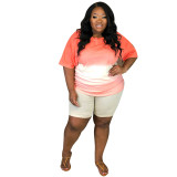 Bule Two-piece T-shirt with gradient positioning printing