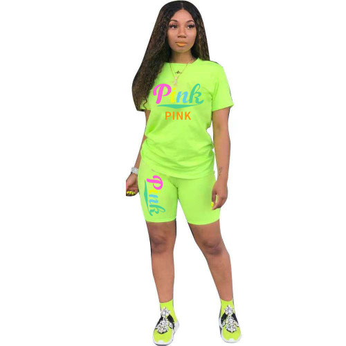 Green Women's suit fashion breathable printing two-piece suit