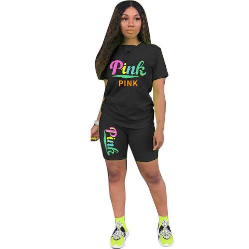 Black Women's suit fashion breathable printing two-piece suit